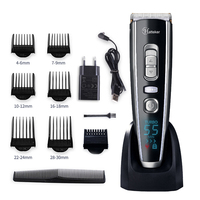 Men's Professional Digital Electric Hair Trimmer Cordless Haircut Adjustable Ceramic Blade Rechargeable Hair Clipper 40D