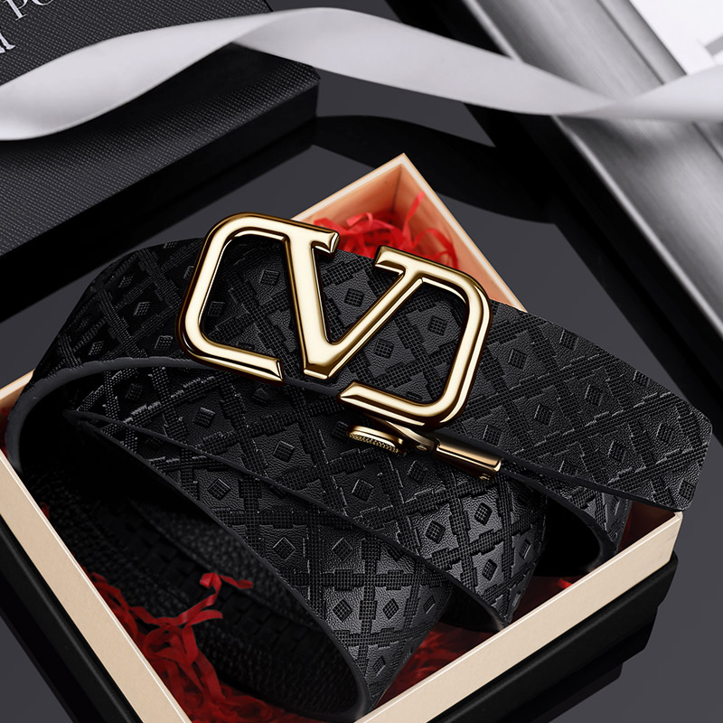 Luxury Brand  Mens Leather  Belt Genuine Designer Leather Strap Automatic Buckle Fashion Belt Gold