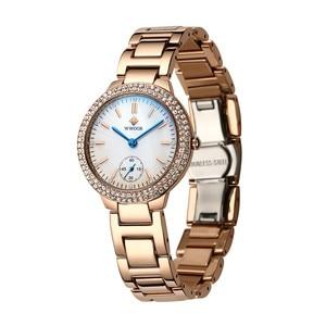 Image 4 - WWOOR damskie zegarki z diamentami luksusowa złota bransoletka damska zegarek wodoodporna stal nierdzewna Casual damski zegarek kwarcowy Reloj Mujer
