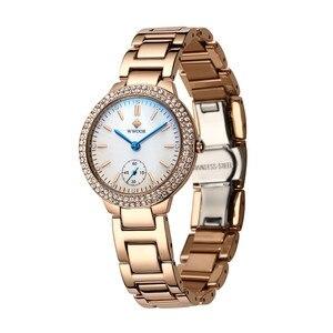 Image 4 - WWOOR elmas kadın saatler lüks altın bayanlar bilezik izle su geçirmez paslanmaz çelik Casual kadın Quartz saat Reloj Mujer