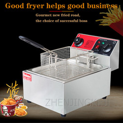 Electric Fryer Commercial With Timer Thickening Multi-function Fryer French Fries Machine Single Cylinder Single Sieve Fryer