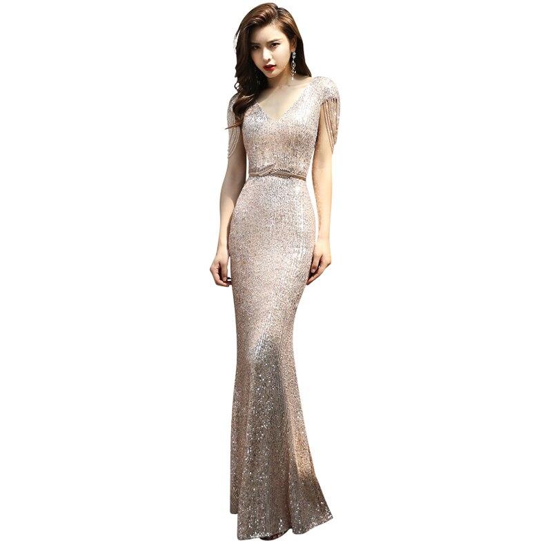 Evening Dress Sexy V-neck Beading Women Party Dresses Zipper Robe De Soiree 2019 Short Sleeve Seqiun Formal Evening Gowns F093