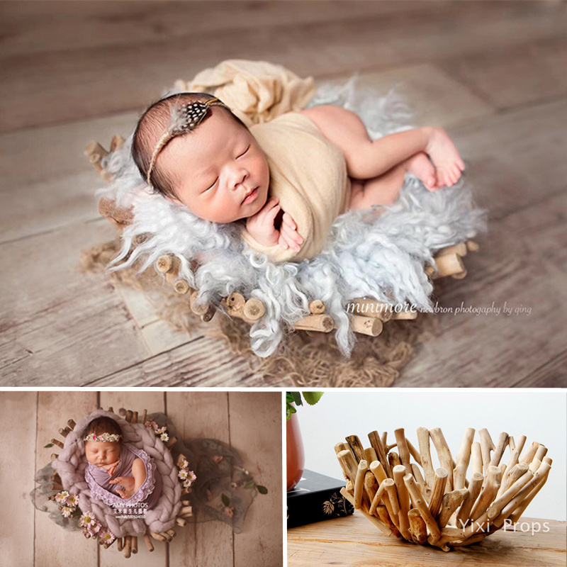 Newborn Photography Accessories Smooth Log Branches Basket Handmade Solid Wood Posing Sofa Bed Baby Photo Props Recien Nacido