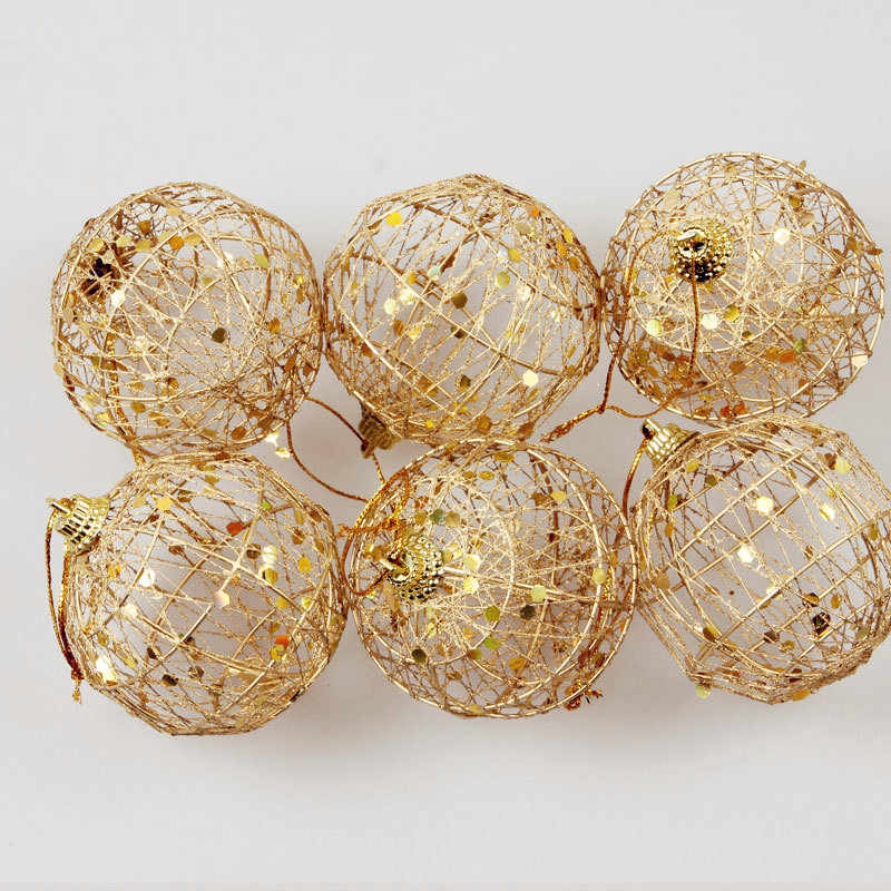 6 Pcs Glitter Christmas Tree Hollow Out Balls Xmas Tree Gold Ball Decorations Christmas Ornaments Party Wedding Home Decor