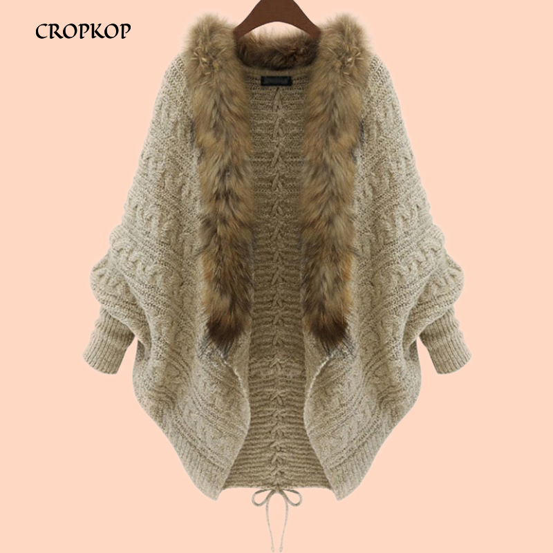 Bat Sleeve Loose Knitted Cardigan Women Casual Long Sleeve Wool Sweater Autumn Winter Fur Collar Solid Color Open Stitch Coat