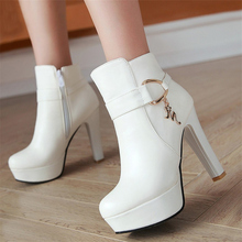 Women Shoe Ankle-Boots High-Heels Platform Black Autumn White Waterproof Winter Fashion