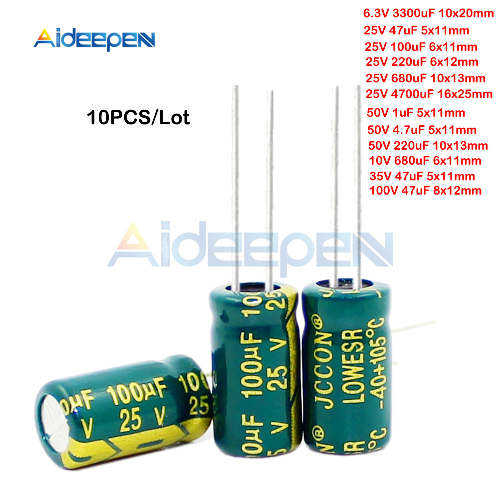 10PCS/Lot 6.3V 10V 25V 35V 50V 100V 1UF 4.7UF 47UF 100UF 220UF 680UF 3300UF 4700UF Aluminum Electrolytic Capacitor image
