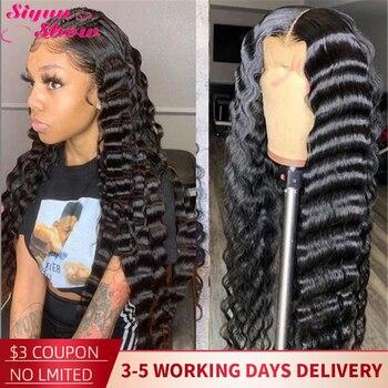 30 дюймов бразильский Свободный парик с глубокой волной, вьющиеся 360 передние парики на сетке, предварительно выщипанные парики Remy 13x6, передн...