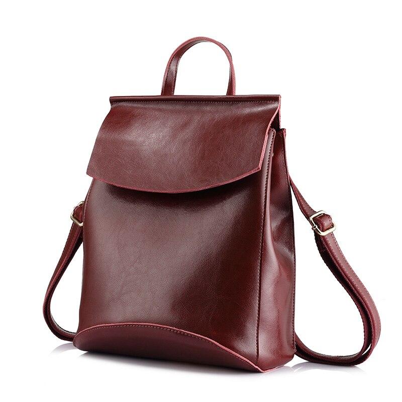 Women backpack split leather shoulder bag female multifunctional backpack fashionable school bags for teenage girls-in Backpacks from Luggage & Bags    1
