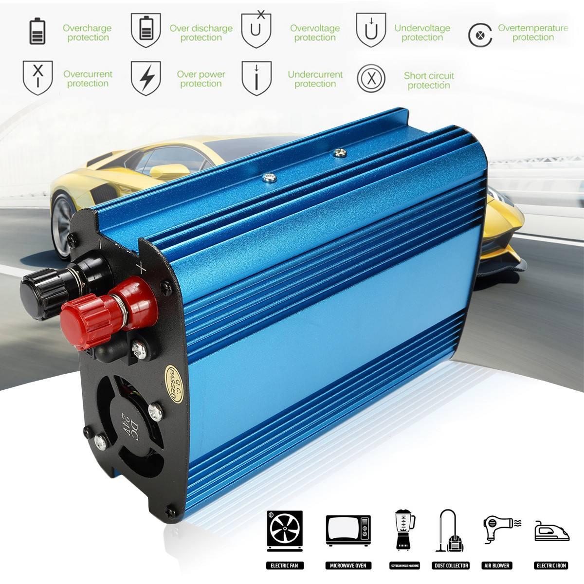 1000W/2000W USB Inverter DC 12V/24V to AC 220V Modified Sine Wave Car Power Inverter Charger Converter Adapter LED Display