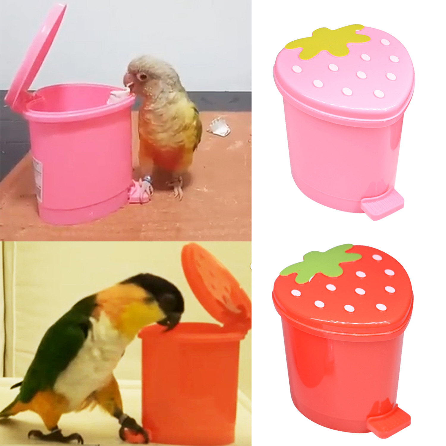 Behogar Funny Bird Parrot Pedal Trash Can Model Educational Training Interactive Toy For Lovebirds Cockatiel Monk Parakeets