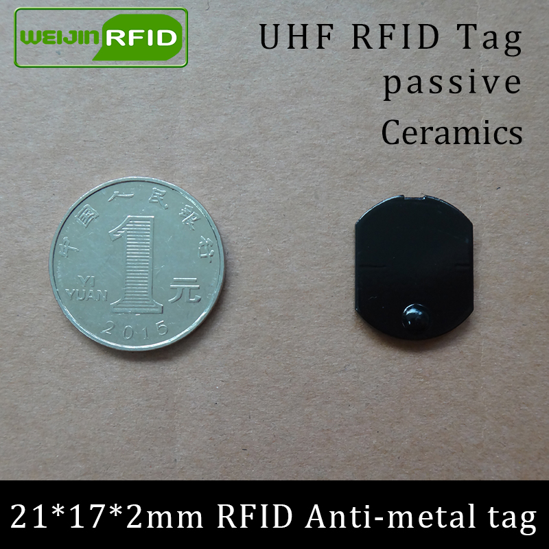 UHF RFID Metal Tag 915mhz 868mhz Alien Higgs3 EPCC1G2 6C Casting 21*17*2mm Thin Rectangle Ceramics Smart Card Passive RFID Tags