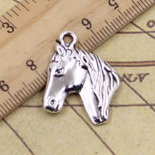 8pcs/lot Charms steed horse head 28x22mm Antique Silver Pendants Making DIY Handmade Tibetan Silver Finding Jewelry for Bracelet(China)