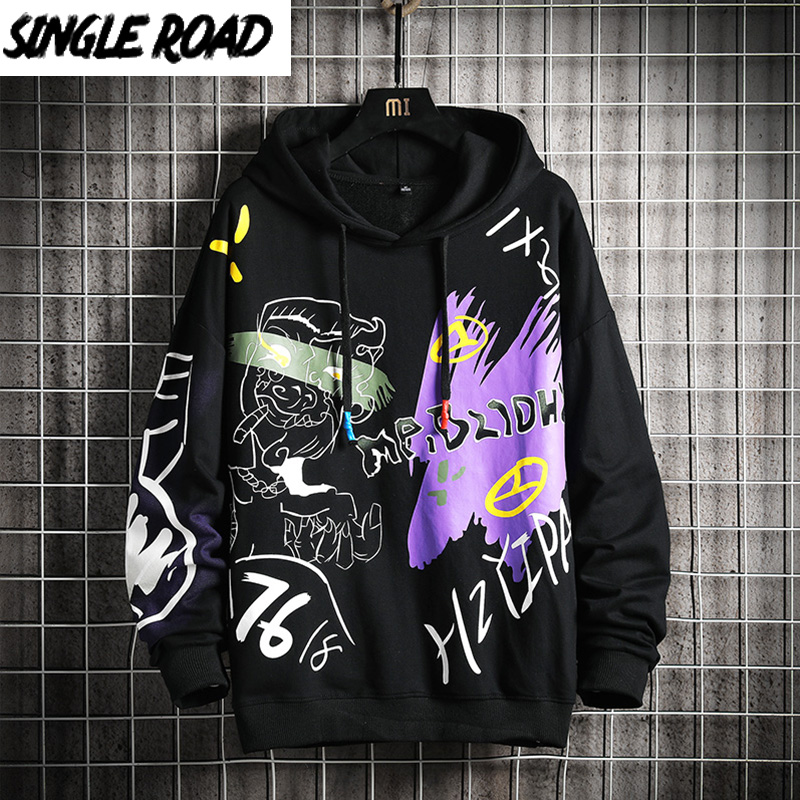 SingleRoad Oversized Mens Hoodies Men Hip Hop Anime Sweatshirt Male Harajuku Japanese Streetwear Black Hoodie Men Sweatshirts