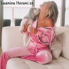 Chu Ni осенний бархатный тренировочный костюм с блестками, повседневные толстовки на молнии с длинным рукавом и штаны с высокой талией, женские комплекты из 2 предметов, LJ03