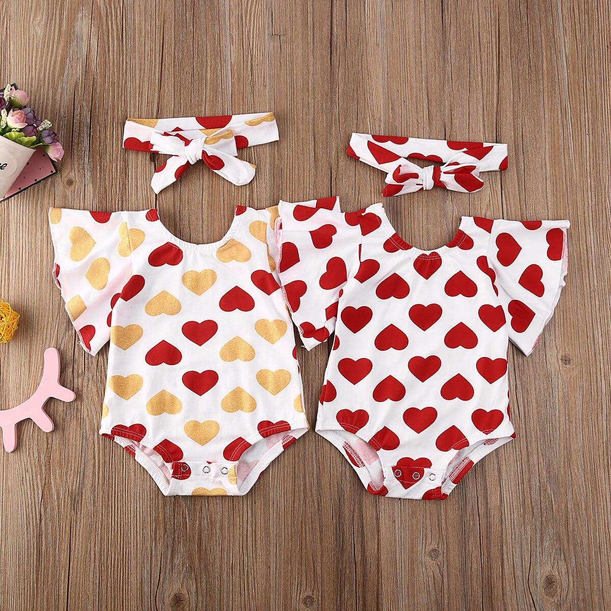 Summer Cute Newborn Baby Girl Valentine's Day Clothes Short Sleeves Heart Bodysuit Jumpsuit Headband Clothing