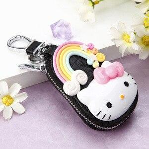 Милый мультяшный брелок Hello Kitty, модный кожаный кошелек на молнии, брелок для ключей для женщин и девочек, автомобильный Шарм, ювелирное изде...