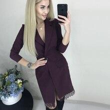 Women Lace Patchwork Sexy Mini Dress Ladies Long Sleeve Turn-Down Collar Elegant