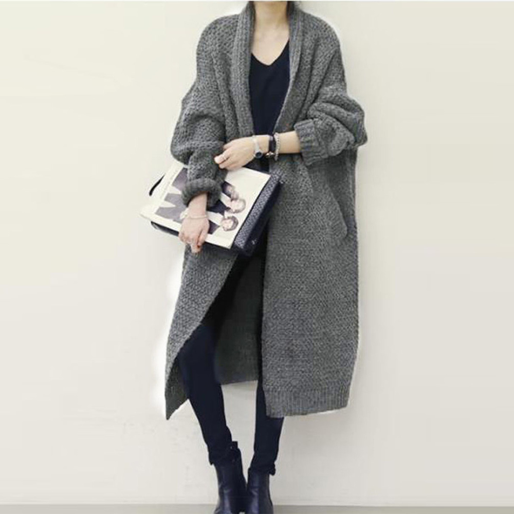 Women Sweaters Casual Elegant OL Plus Size Loose Cardigan Thick Lapel Solid Female Spring Warm Vintage Wool Tops Long Knitwear