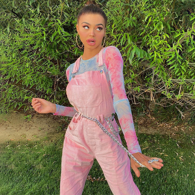Corduroy Sexy Jumpsuit Women Fall Pocket Metal Button Strap Bodycon Jumpsuit Rompers 2019 Pink High Waist Long Trousers Overalls