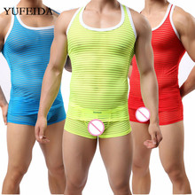 Sheer Mens Underwear Set Mesh Sleeveless Slim Fitness Bodybuilding Undershirts Tank Tops Vest Male Boxer Shorts Men Clothes Set