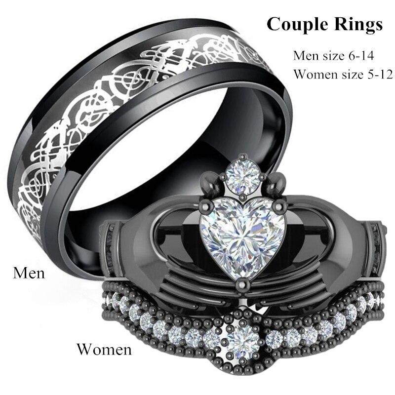 Bagues de mariage en zircone noire, bague de Couple, en acier inoxydable, pour hommes et femmes, bague en forme de cœur, ensemble de bagues de mariage