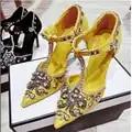 Luxuriöse palace stil diamanten perlen frau partei schuhe T band high heel diamanten perlen kleid schuhe gelb schwarz blau farbe