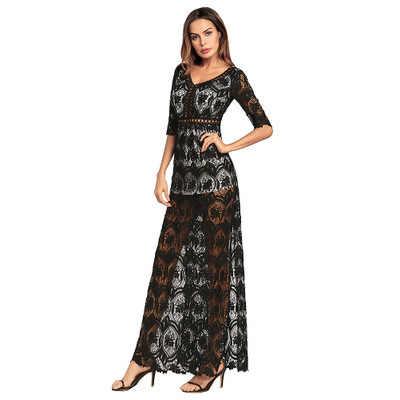 קיץ שמלת נשים סקס ערב חלולה את חוף ארוך שמלת צד פיצול אלגנטי תחרה שמלות קיצית Vestidos חמה LJ06