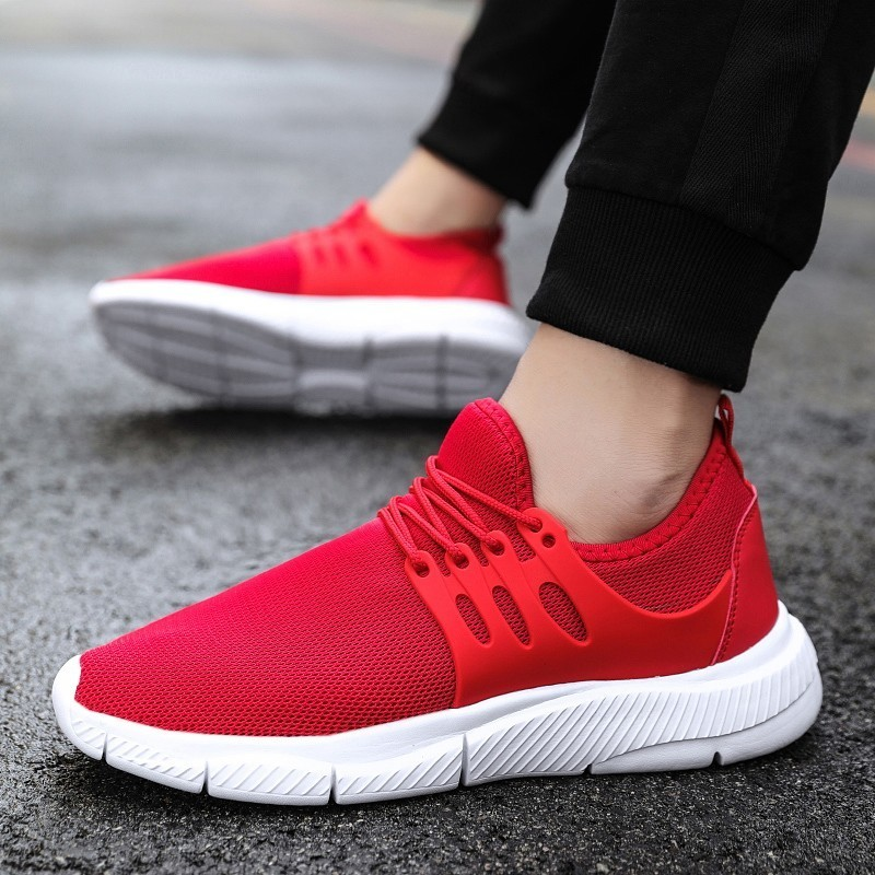 248Mens Running Shoes Fly Weave Breathable Black Sneakers Fashion Plus Size Durable Outdoor Sport Shoes For Men Lace Up Sneakers
