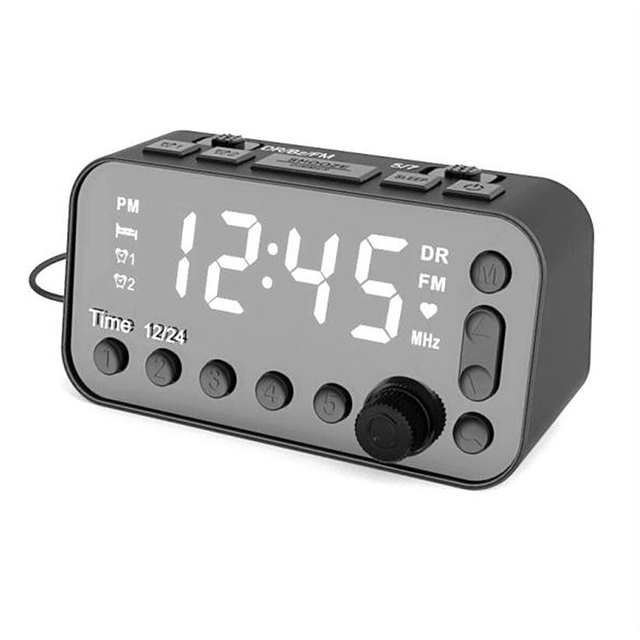 Portable DAB & FM Radio Digital Alarm Clock Dual USB Port Sleep Timer for Office Bedroom Mini Radio with 4 inch LED Display