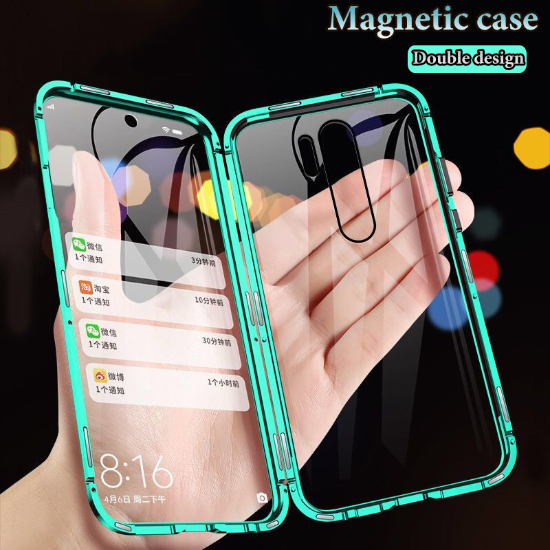 Double Sided Tempered Glass Case For Xiaomi Redmi9 10X Note 9 8 7 K20 Pro 9S K30 Mi 9T 9 Lite F1 Metal Magnetic Adsorption Cover(China)
