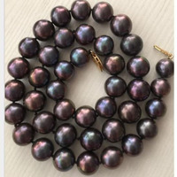 gorgeous AAA 11 12mm freshwater round black red pearl necklace 18inch 925silver jj
