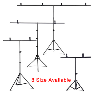 T-Shape Portable Background Backdrop Support Stand Kit 6.5ft Wide 6.5ft Tall Adjustable Photo Backdrop Stand with Spring Clamps