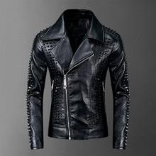 2021 Rivets PU Jackets Men Black Slim Turn-down Neck Zipper Full Streetwear Motorcycle Faux Leather Coats Casacas Para Hombre