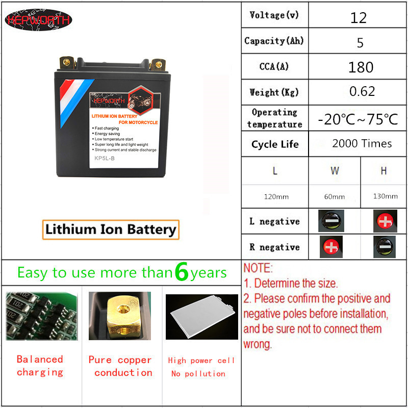 KP5L-B <font><b>Lithium</b></font> iron Motorcycle <font><b>Battery</b></font> <font><b>12V</b></font> <font><b>5Ah</b></font> CCA 180A LiFePO4 Motorbike <font><b>Battery</b></font> Jump Starter With BMS Voltage Protection image