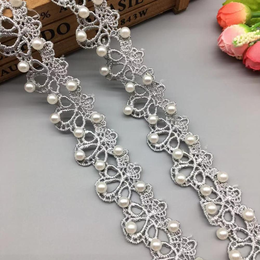 1 Yard Grey Pearl Beaded 3D Lace Trim Tape Lace Ribbon African Fabric Collar Wedding Dress Sewing Garment Headdress Materials