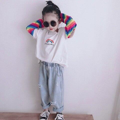 primavera verao moda criancas solto rasgado jeans