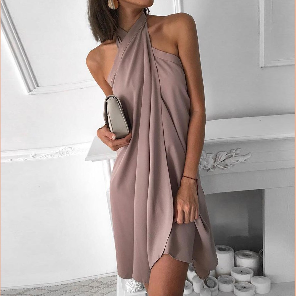 Women Halter <font><b>Dress</b></font> <font><b>Sexy</b></font> Solid Elegant <font><b>Chiffon</b></font> <font><b>Dress</b></font> <font><b>Backless</b></font> <font><b>Mini</b></font> <font><b>Dress</b></font> image