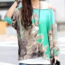 20 Styles Woman Batwing Sleeve Sheer Chiffon Shirt Bohemian Flower Tee Oversized Blouse YF233