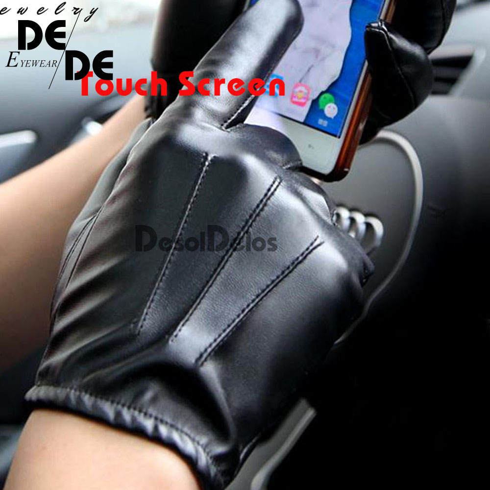 Hot Guantes Tactil Glove Women Touched Screen Gloves Men Leather Gloves Autumn Winter Full Finger Unisex Luvas
