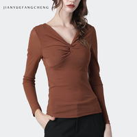 Sexy V Neck Brown Sweater Women Skinny Thin Knitted Sweater Fashion Elastic Elegant Slim Female Fall Bottoming Pullover