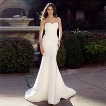 Verngo Mermaid Wedding Dress Ivory Appliques Stain Gowns Elegant Backless Bride Vestido De Noiva Sereia 2020
