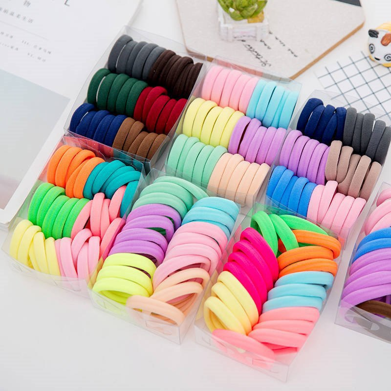 50/100pc/lot Kids Elastic Scrunchie For Girls Candy Color Hair Rope Hair Bands Hair Ring Rubber Band Princess Hair Accessories