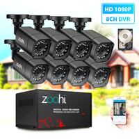 Zoohi security Camera DVR Kit AHD CCTV System 8CH 720P/1080P CCTV camera waterproof Outdoor home Video Surveillance System HDD