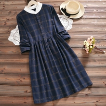 Autumn women dresses 2019 vintage dress Button Knee-Length Empire Stand Casual Full plaid shirt elegant 0320