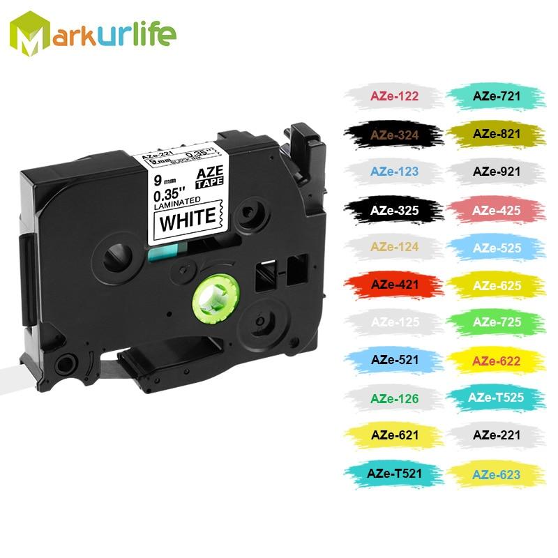 1 PCS Tze121 Tze221 Tze421 Tze521 Tze621 Tze721 Tze821 Tze921 Laminated Compatible P Touch 9mm Label Tape Cartridge Tz221 Tze221