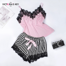 VICTORIA'S KEY Lace Trim Satin Cami And Striped Shorts Pajama Set