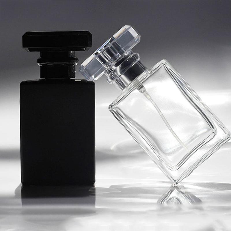 1pcs Square Perfume Spray Glass Bottle Spray Bottle Reusable Bottle Black Transparent Perfume Bottle
