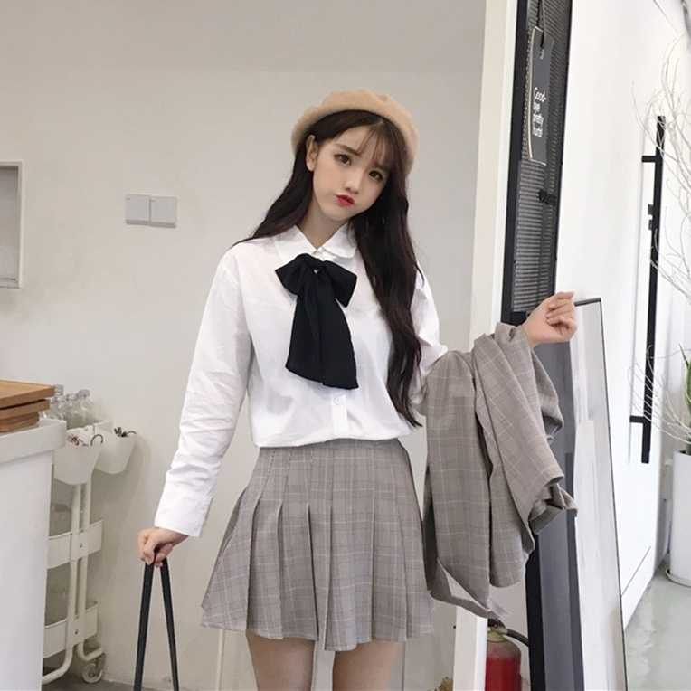 2020 neue frühjahr und herbst Koreanische version der hochschule stil casual westlichen stil karierten anzug jacke plissee rock zwei-pi
