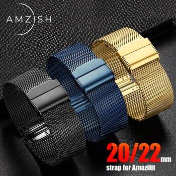 Amzish 20/22mm de lazo milanés correa para Amazfit Bip S gts gtr pulsera xiaomi Amazfit GTR 42mm 47mm ritmo Stratos Correa